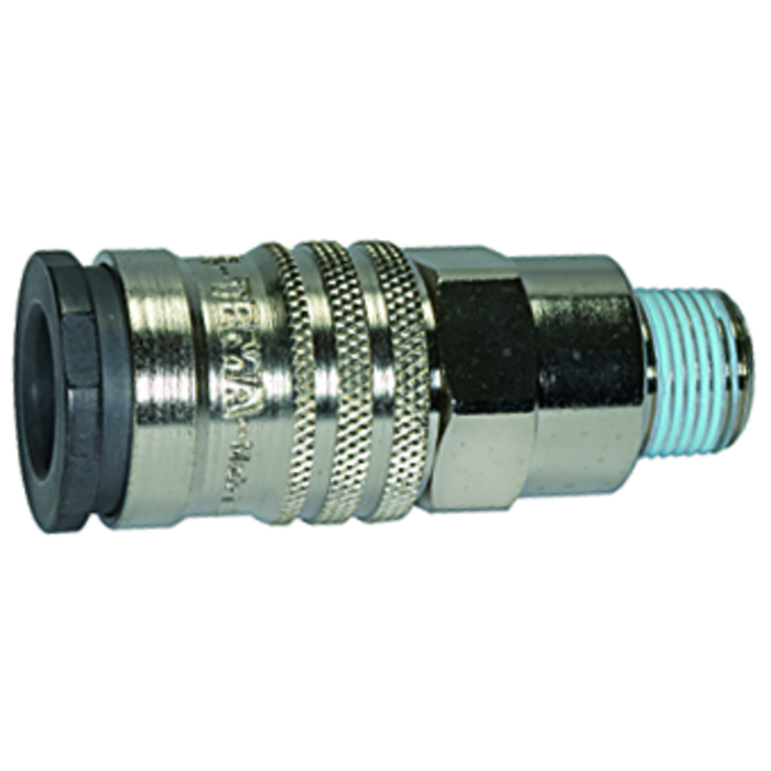 One-hand quick-lock couplings, shut-off at one end DN 10