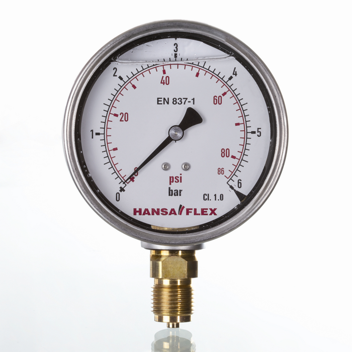 Glycerine-filled pressure gauges with metal housing