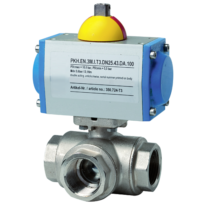 Ball valves with pneumatic actuator