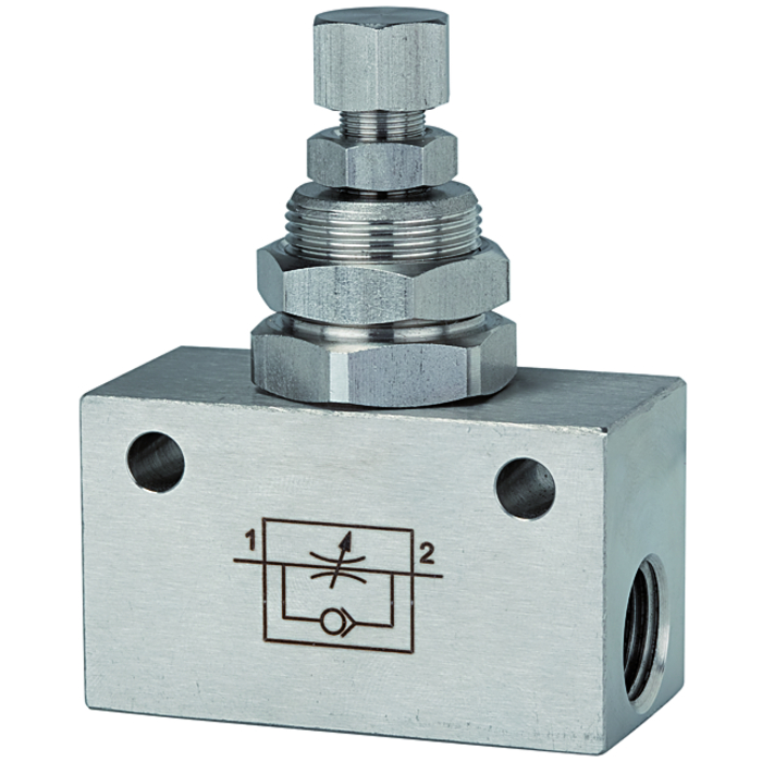 Unidirectional flow control valves stainless steel