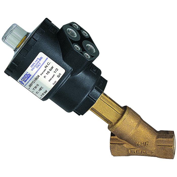 Angle-seat valves with piston actuator