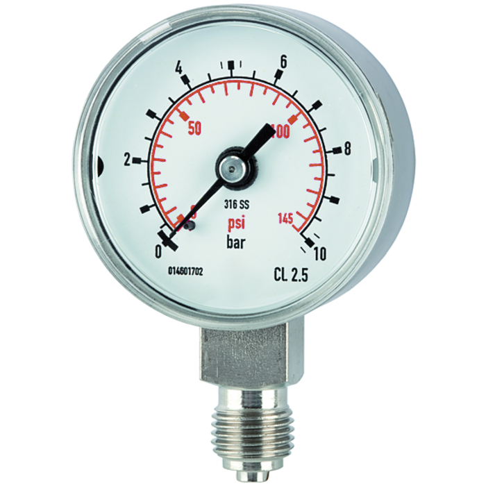 Pressure gauges, CrNi steel type, standard model, economical and